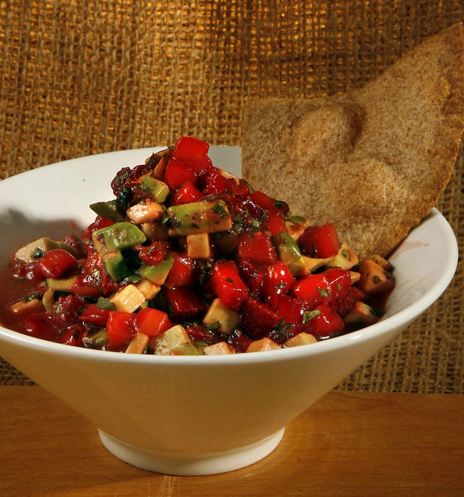 Cinnamon tortilla chips with strawberry-avocado salsa