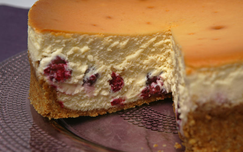 Tall and creamy cheesecake