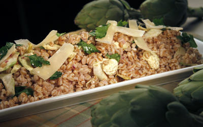 Artichoke and farro salad