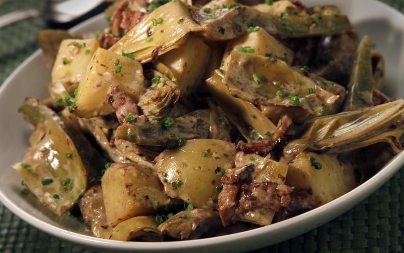 Artichoke, bacon and new potato stew