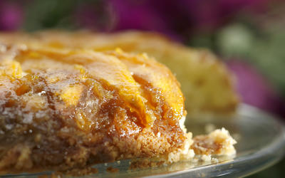 Mango upside-down cake