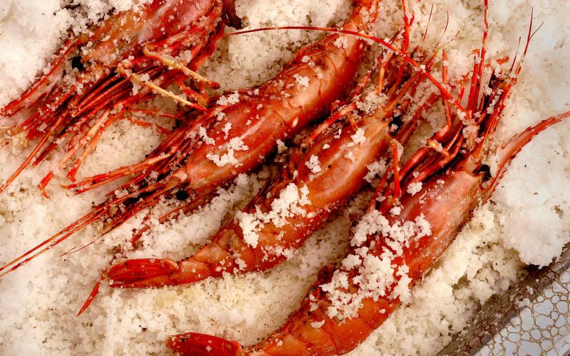 Spot prawns roasted in spiced salt