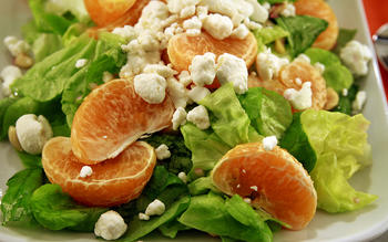 Tangerine, butter lettuce and goat cheese salad