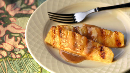 Grilled pineapple with rum and long pepper glaze