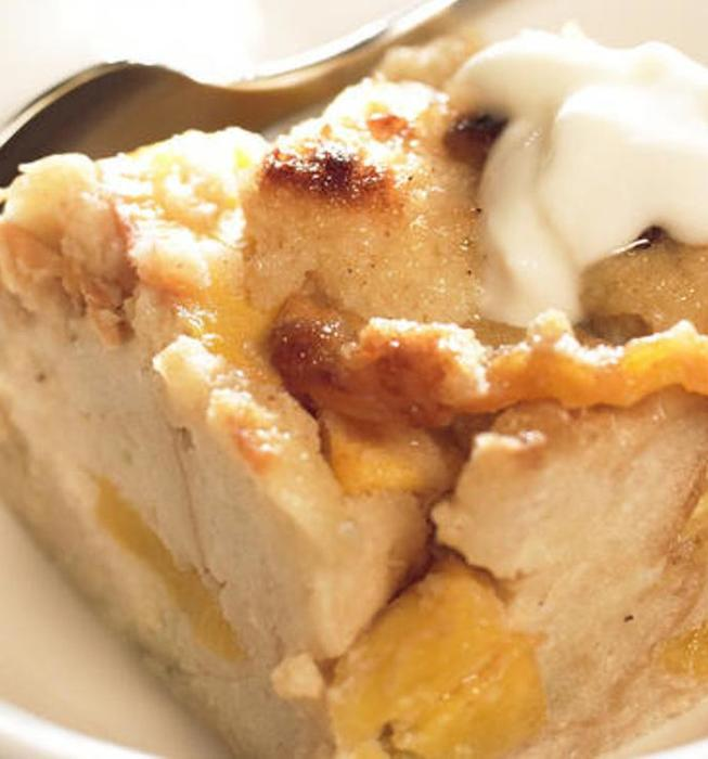Peach and buttermilk bread pudding with golden raisins
