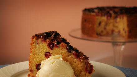 Cranberry orange cornmeal cake