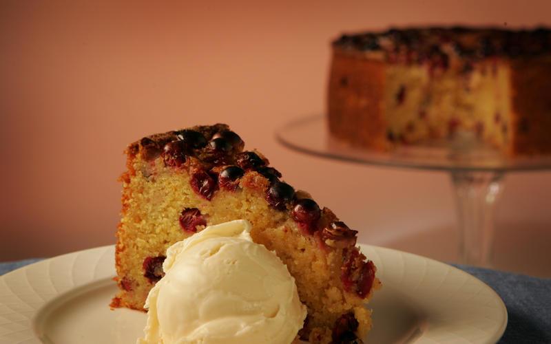 Cranberry orange cornmeal cake