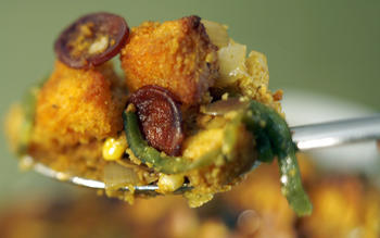 Pumpkin seed stuffing with chorizo