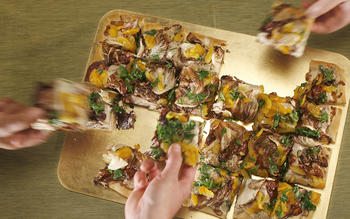 Pissaladiere with spiced ricotta, radicchio and poached apricots