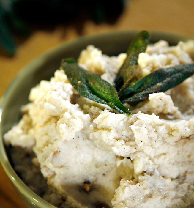 Brown butter mashed potatoes with fried sage