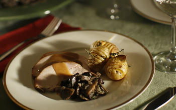 Roast turkey with wild mushrooms