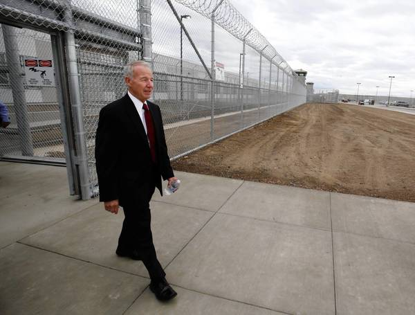 California prisons chief Jeffrey Beard, seen above in June walking into a new correctional healthcare facility in Stockton, has defended his department's treatment of the hunger strikers.