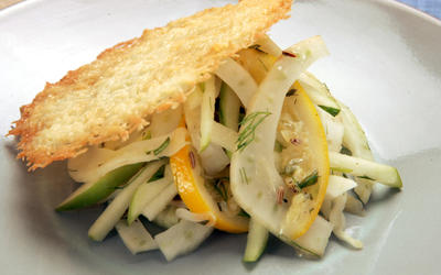 Frico with fennel-apple slaw