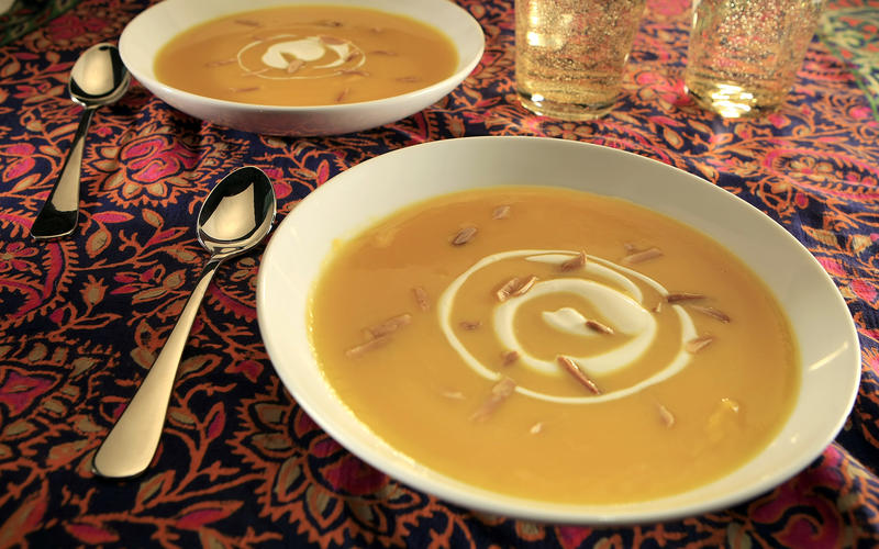 Creamy butternut squash soup with ginger