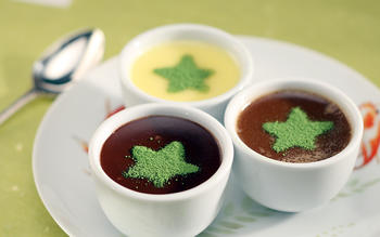 Trio of chocolate pots de creme with matcha