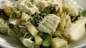 Spring vegetable stew with herbed ricotta gnocchi