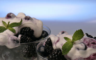 Blueberry fool on a berry fruit salad