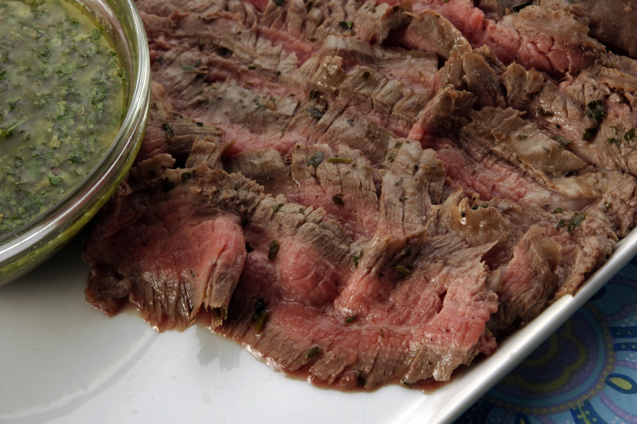 Recipe: Grilled flank steaks with chimichurri sauce - California ...