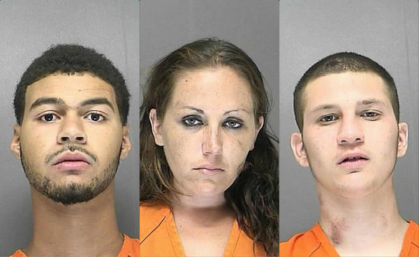 The suspects are Amanda Bruns, her 18-year-old boyfriend Isaiah Brown (right) and brothers Darius Rivera (left) and Devin Rivera, not pictured.