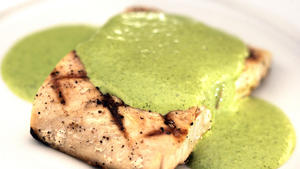 Grilled fresh mahi-mahi with jalapeno cilantro sauce