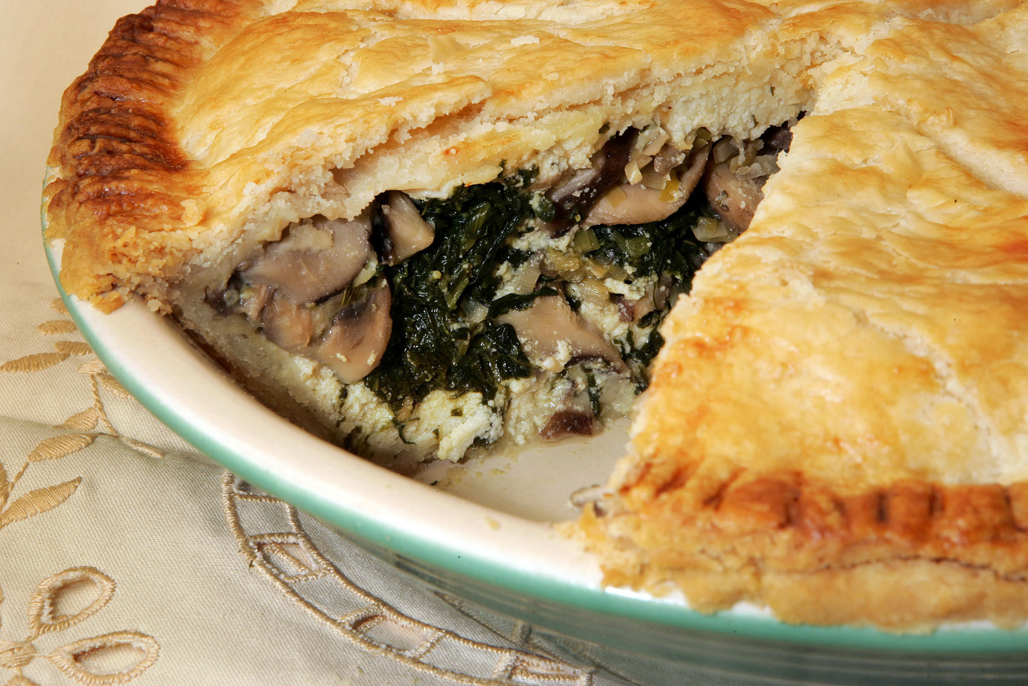 Recipe: Wild mushroom, spinach and ricotta pie - California Cookbook