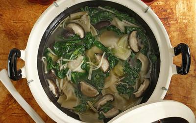 Duck gyoza hot pot