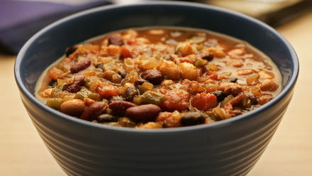 Three-bean and hominy chili