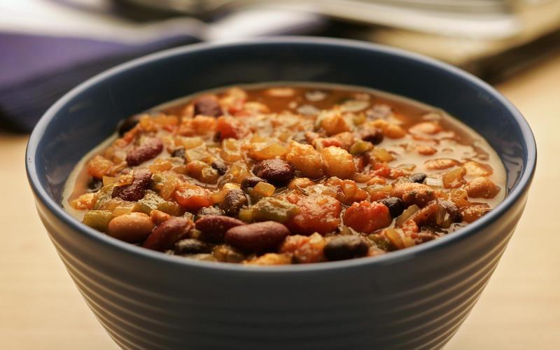 Three-bean and hominy chili