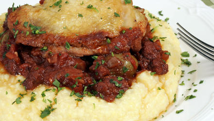 Braised chicken and sausage with green olives