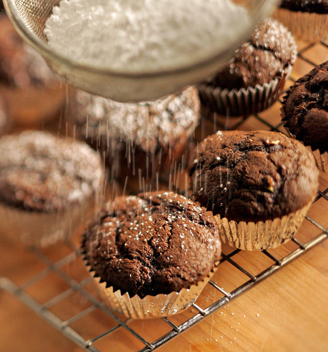 Double chocolate zucchini mini-muffins