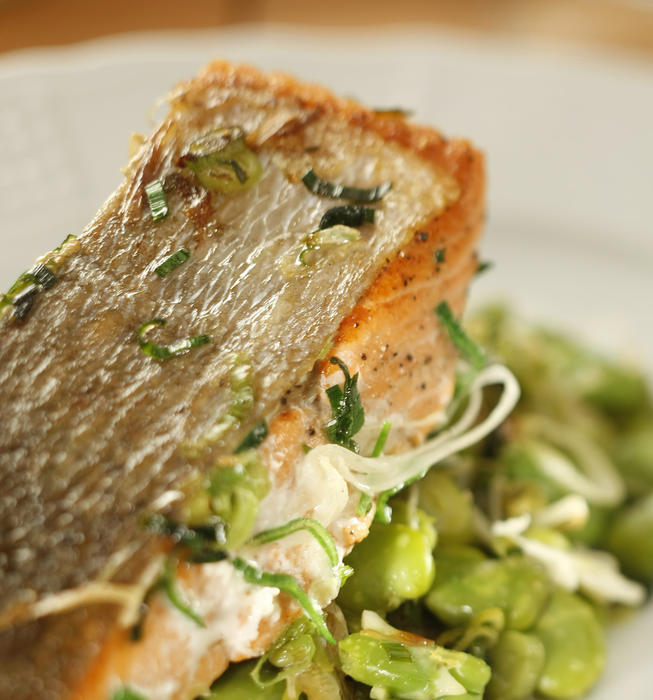 Sockeye salmon with green garlic and favas