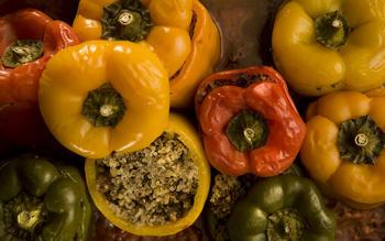 Quinoa-stuffed bell peppers
