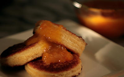 Mascarpone-stuffed French toast with orange compote