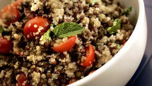Quinoa lentil salad with tomatoes