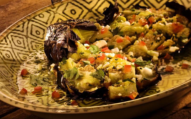 Kuzina's butterflied roasted eggplant salad