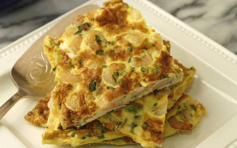 Shrimp and basil frittata