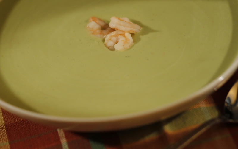 Chilled avocado and watercress soup with shrimp