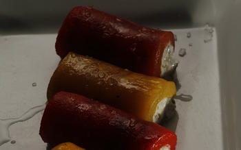 Roasted peppers stuffed with homemade ricotta