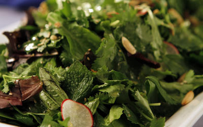 Fresh herb salad with seeds