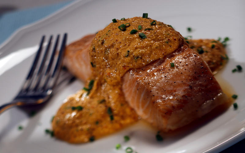Recipe: Thyme Cafe & Market's roasted salmon with red pepper hazelnut...
