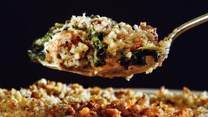 Italian sausage and kale gratin