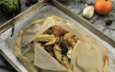 Spring vegetables baked in parchment