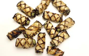 Walnut- and herb-stuffed eggplant rolls