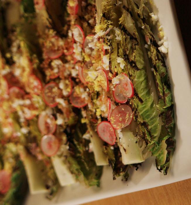 Grilled romaine with radishes, hard-boiled eggs and toasted bread crumbs