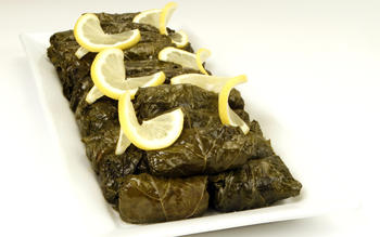 Aunt Mary's yalanchi (stuffed grape leaves)