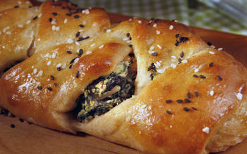 Spinach- and ricotta-stuffed challah
