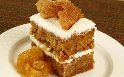 Carrot cake with pineapple marmalade