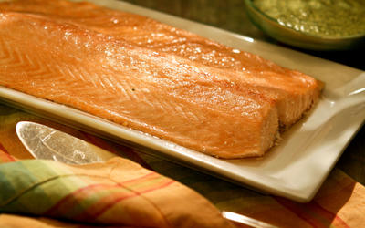 Oven-steamed salmon with dill mayonnaise