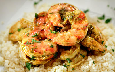 Shrimp charmoula confit