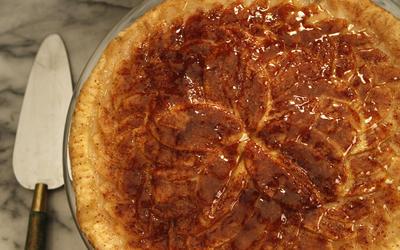 Thin-crusted apple tart